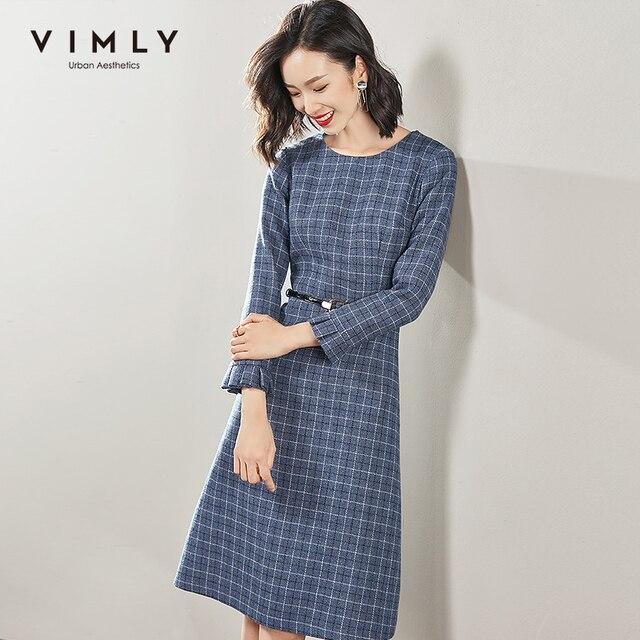 Vimly 2020 Autumn Winter Plaid Elegant Dress Office Lady O-neck High Waist Belt Zipper Knee Length Female A-line Dresses 95879 2
