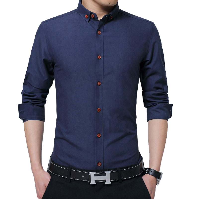 BROWON 2019 Autumn New Men's Shirt Long Sleeve Shirt Turn-down Collar Men's Slim Fit Business Shirt Oxford Shirt For Man