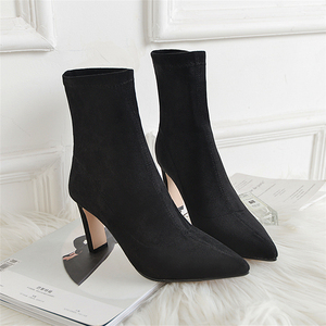 Nuevas botas tobilleras elásticas de cuero auténtico a la moda para mujer, botas con tacón alto, botines sexis elásticos de otoño para mujer, puntiagudos