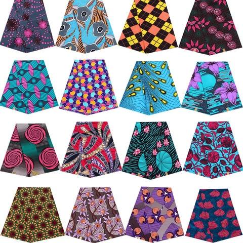 Frete Grátis Ancara Cera Africana Verdadeira Real Tecido Poliéster Costura Vestido Material 6 Jardas – Uma Peças Z001