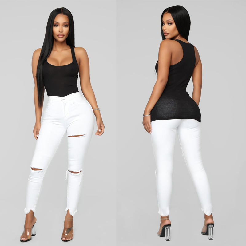 2019 New Style Foreign Trade WOMEN'S Pants Wish AliExpress   New Style Europe And America White Hole Cowboy Pants