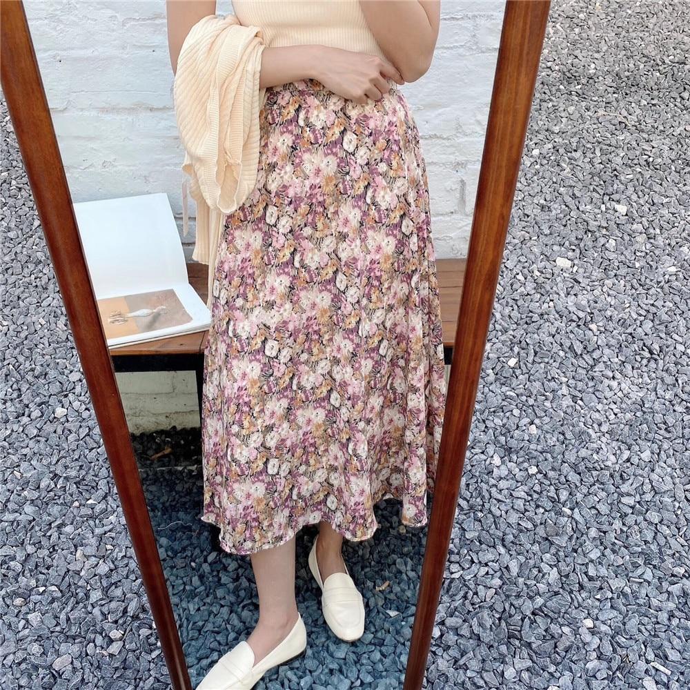 Vintage Floral Print Ruffle Pleated Long Skirts Summer Women Korean Skirt Streetwear Drawstring Elastic Waist Midi Skirt