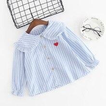 Г. Весенне-осенняя рубашка блузка с длинными рукавами в Корейском стиле для девочек, в полоску, с воротником в стиле Питера Пэна, с вышивкой вишни, из чистого хлопка
