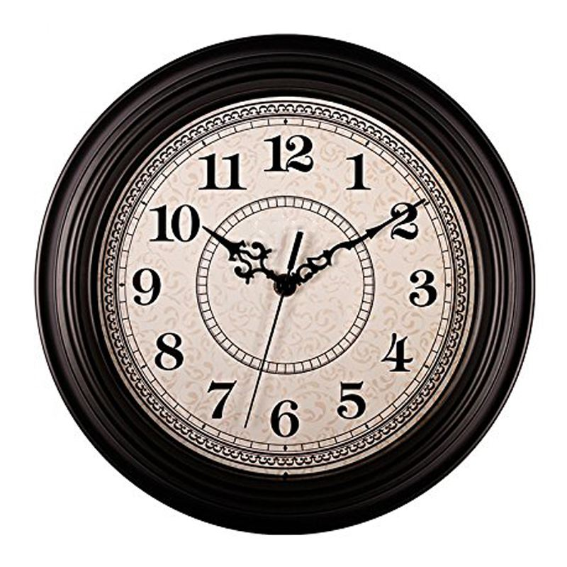 Silent Non-ticking Round Contemprary Antique Wall Clocks (12 Inches) Decorative Vintage Style,Black