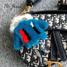 Brand New Monsters' Robot Keychain Cute Real Rex Rabbit Fur High Quality Fluffy Lady Bag Charm Pendants Car Key Ring Accessories(China)