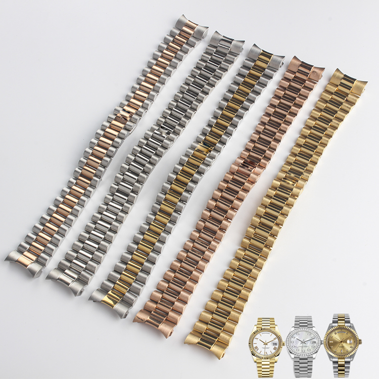13mm 17mm 20mm 21mm 316L Steel Solid Cruved End Screw Links Replacement Wrist Watch Band Bracelet For Rolex President