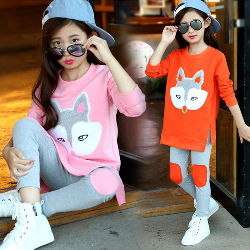 Children Clothing Autumn Cartoon Girls Sets Long Sleeve Tracksuit For 3- 13 Years old Girls Clothes Sport Suit Kids Clothes Sets 2