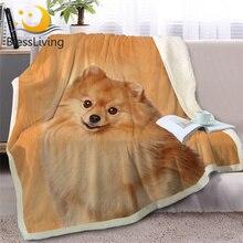 Blesslive Померанский плед, 3D принт, шерпа, флисовое покрывало для кровати, животное, собака, плюшевое покрывало, Коричневое постельное белье, 150x200 см