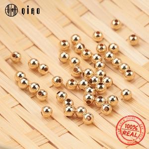 Image 1 - סיטונאי 100PCS 2 4MM 14K זהב חרוזים עגול תכשיטי חרוזים צמיד & שרשרת ביצוע 14K זהב הדפסה