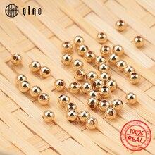 Гладкие Круглые Бусины из золота 14 к для изготовления браслетов и ожерелий, оптовая продажа, 100 шт., 2 4 мм