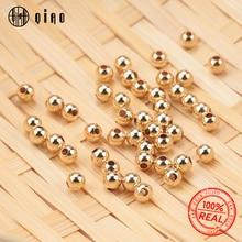 Perles rondes et lisses en or 14 carats, 100 pièces de 2 4 mm, pour la fabrication de bijoux, bracelets et de colliers de 14K, vente en gros, découverte