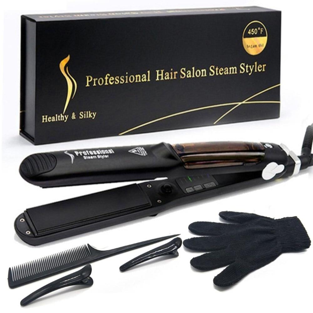 2019 Pro Ceramic Heating Plate Vapor Steam Hair Straightener Argan Oil Steam Hair Styling Tool Adjustable Temperature