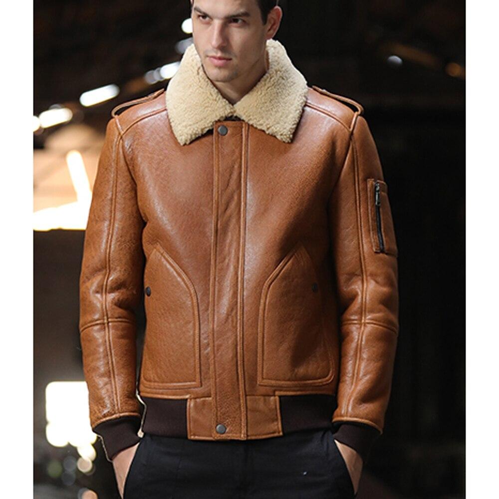 SANI 2019 Sheepskin Fur Shearling Brown Champion Real Fur Jacket Men Winter Fur Clothing Short Leather Genuine Overcoat