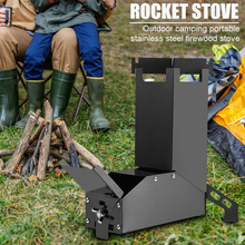 Camp Stainless Steel Wood Stoves Outdoor Backpacking Picnic Hiking Rocket Stove Camping Portable Outdoor Elements