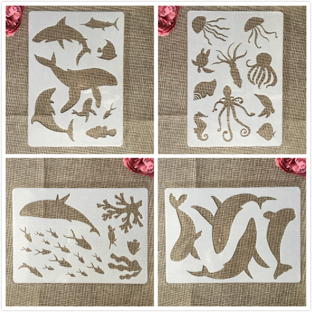 4Pcs A4 29cm Whale Shark Dolphin Jellyfish DIY Layering Stencils Painting Scrapbook Coloring Embossing Album Decorative Template