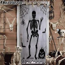 OurWarm 40x84inch Horrible Halloween Door Curtain Black Lace Skull Window Decoration Holiday Party