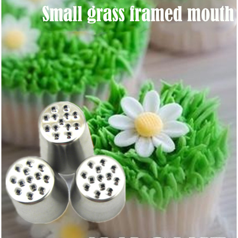 304 Stainless Steel Piping Tips Set Stainless Steel Grass Icing Nozzles Decoration Tools For Cake Cream Cokkies Cupcakes 3pcs