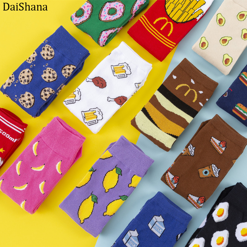 New Fashion Women Socks Funny Cute Cartoon Fruits Banana Avocado Lemon Egg Donuts Food Japanese Harajuku Skateboard Socks 35-40
