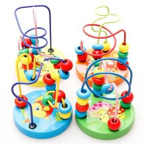 Image 1 - ベビー幼児教育素敵な動物ラウンドビーズ子供のおもちゃ新生児子供ベビーベッドベビーカー携帯モンテッソーリ 9*11 センチメートル