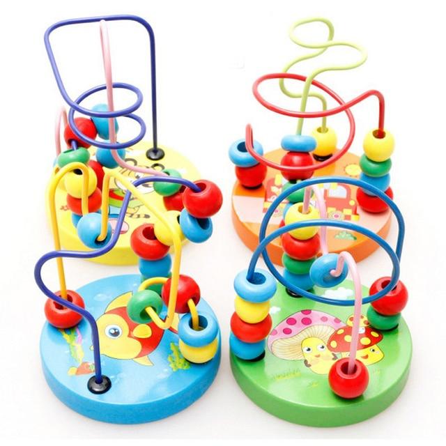 ベビー幼児教育素敵な動物ラウンドビーズ子供のおもちゃ新生児子供ベビーベッドベビーカー携帯モンテッソーリ 9*11 センチメートル
