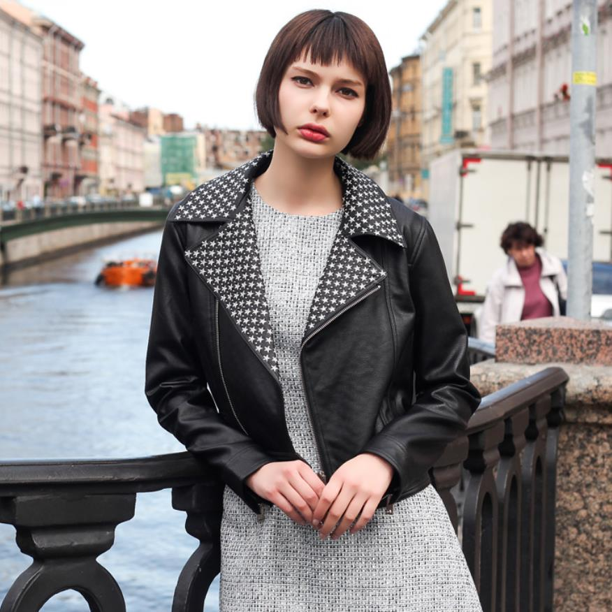 Autumn fashion streetwear locomotive style pu   leather   jacket female stars pattern printed warm   leather   jacket F132