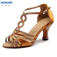 Dancing-Shoes Latino Ballroom Rhinestone High-Heel Girls Women for Stain Flashing Slasa