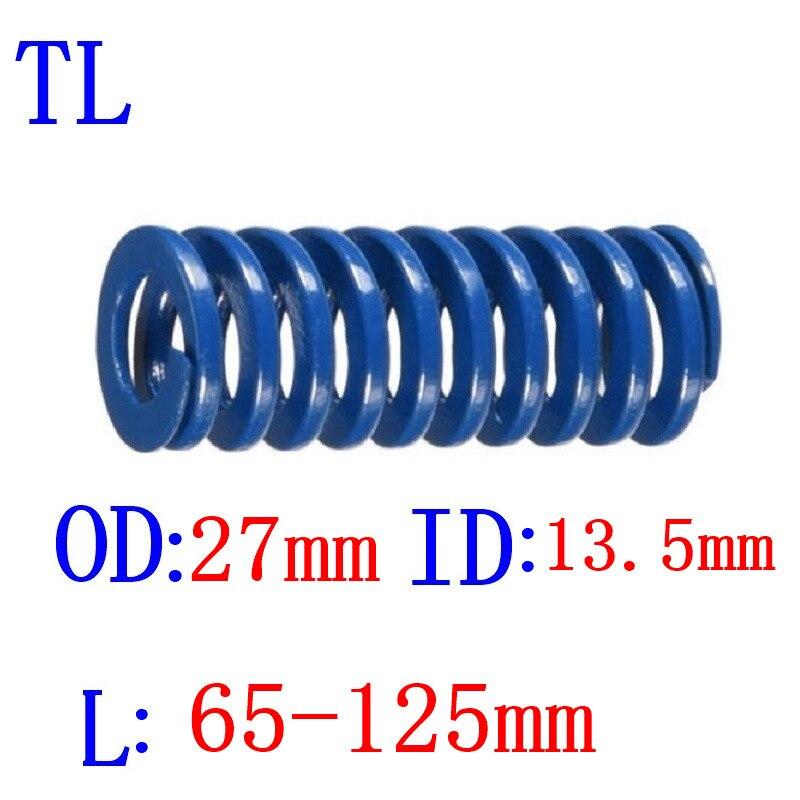 Venda quente 1 pces od 27mm id 13.5mm comprimento 65-125mm azul luz carga espiral estampagem compressão morrer primavera helicoidal