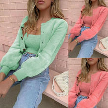 Women Autumn Jackets Sweater Cardigan 2PCS Long Sleeve Coats+Tank Top S