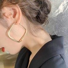 Golden Big hoop Earrings Korean Geometry Metal Earrings For women Female Retro Square Drop Earrings 2021 Trend Fashion Jewelry