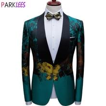 Men's Luxury Floral Print Green Dress Blazers One Button Shawl Lapel Men Tuxedo Suit Jacket Dinner Wedding Party Costume Homme
