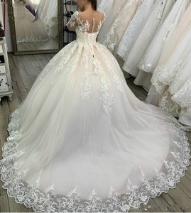 Image 2 - свадебное платье 2020 Lace Appliques Tulle  Long Sleeves Wedding Dress Buttons Lace Up Back Custom Made Plus Size Bridal Gowns