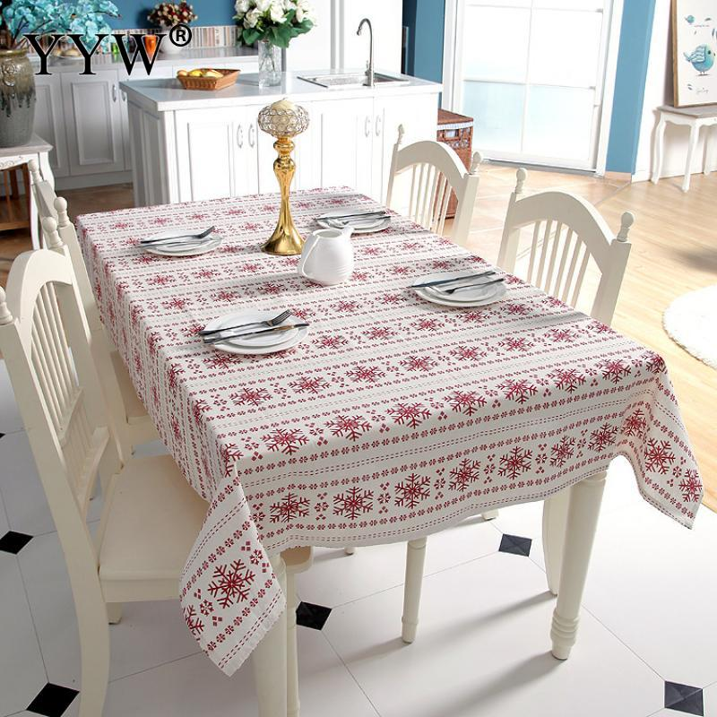 Europe Table Cloth Snowflake Christmas Tablecloth Rectangular Tablecloths In Fabric Dining Table Cover Obrus For Home Party