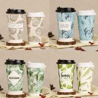 50pcs 500ml oz 16 flamingo padrão planta de café descartável copo de papel ano novo party favor embalagem da bebida quente copos com tampa|null| |  -