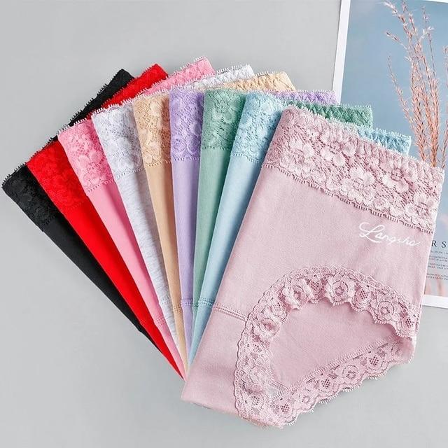 5Pcs/Set High Waist Women Panties Soft Cotton Seamless Sexy Lace Women Comfort Underwear Body Shaper Female Breathable Lingerie 4
