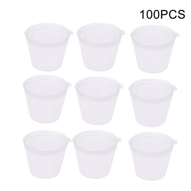 100pcs Plastic Takeaway Sauce Cup Containers Food Box With Hinged Lids Pigment Paint Box Palette Disposable Box