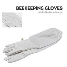 Guante de apicultura de protección de cuero Artificial de marca para apicultura con ventilación de mangas largas adecuado para equipos y herramientas