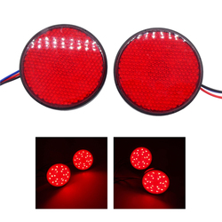 2pcs Motorcycle 24 LED Brake Stop Warning Reflector Light Round Rear Tail  Marker Lamp For Car Motorbike Truck Turn Signal Light