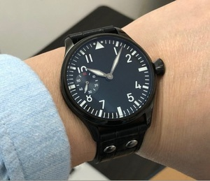 Image 2 - 44mm  GEERVO black dial 17 jewels Asian 6497/3600 Mechanical Hand Wind movement mens watch PVD case Mechanical watch gr197a