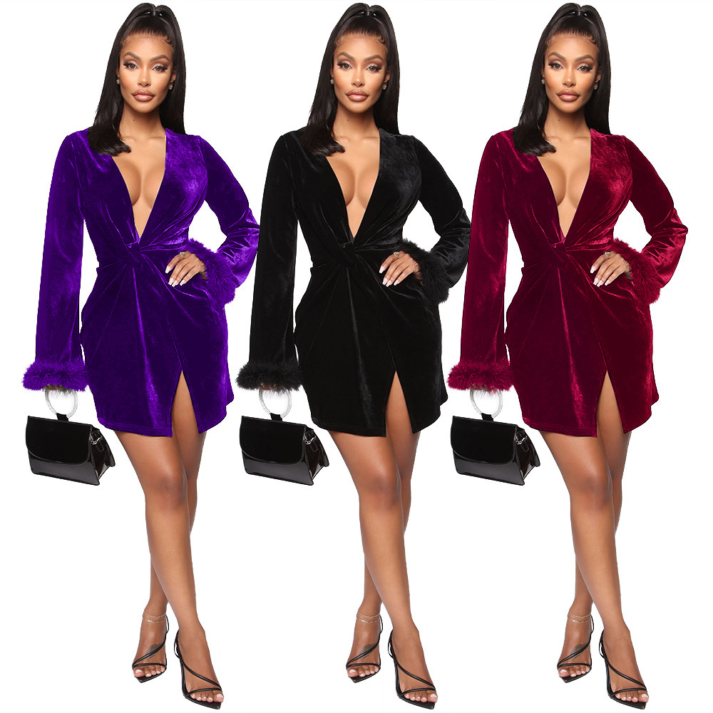 Ever Pretty Sexy V Neck Long Sleeve Velvet Cocktail Dresses With Sashes For Wedding Party Bridemaides Short Formal Night Dress