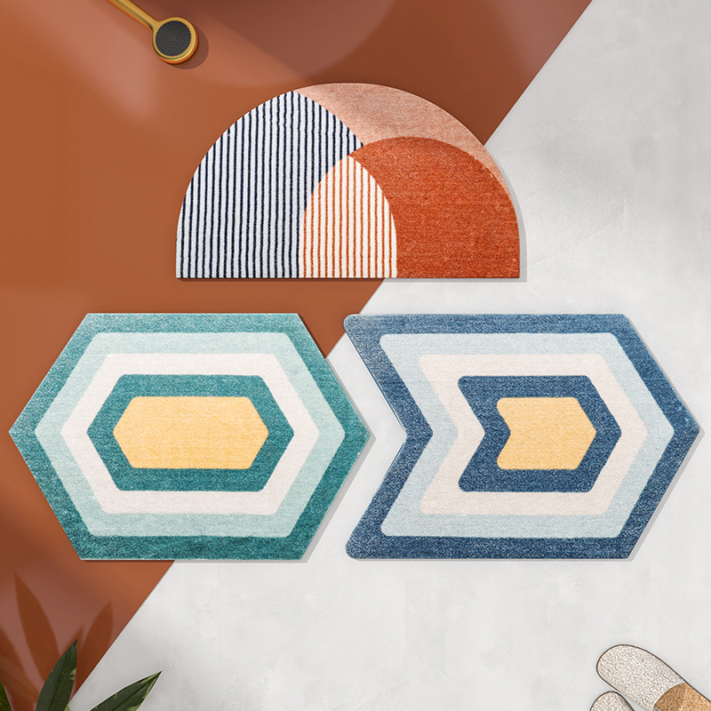 Geometric Area Rug Modern Carpet Home Living Room Nordic Tapis Toilet Kitchen Floor Mat Door Mats Anti Slip Rugs Dorm Decor