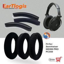 Бархатные Сменные амбушюры для наушников Sennheiser HD380, HD 380 PRO PC350 PC 350, детали гарнитуры, бампер, повязка на голову, наушники