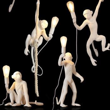 Art Modern LED Pendant Lights Resin Animal Monkey Lamp LOFT Pendant Lamp Living Room Bedroom Restaurant Bar Kitchen Hanging Lamp nordic resin monkey lamp led pendant lights living room restaurant bedroom kitchen hanging lamp fixtures suspension luminaire