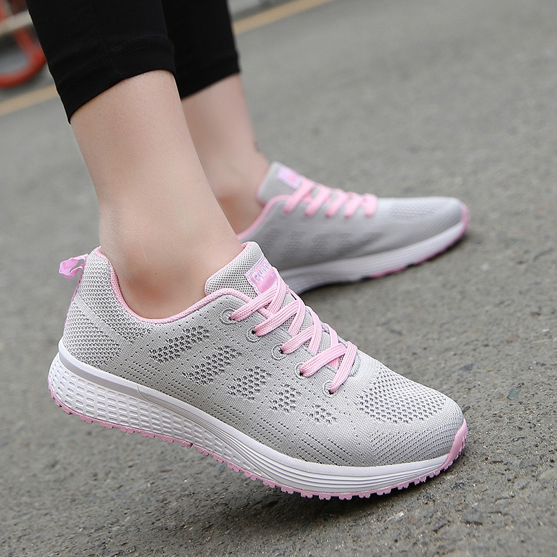 Sneakers Shoes Woman Sport Shoe Lace-Up Mesh Round Cross Strap Ladies Flat Sneakers Running Shoes Casual Women Shoes Comfortable