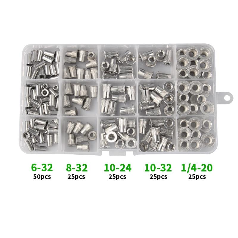 100 Pcs SAE Rivet Nut Rivnut Aluminum Assort Kit 6-32 8-32 10-24 10-32 1//4-20