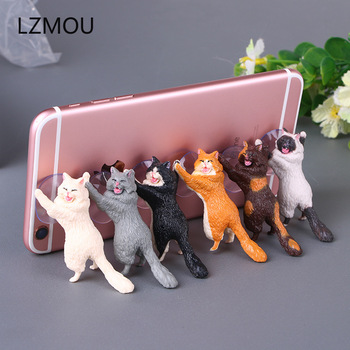 Wedding Gifts for Guests Kids Phone Holder Cute Cat Support Resin Mobile Phone Holder Bridesmaid Gift Present Party Favors image