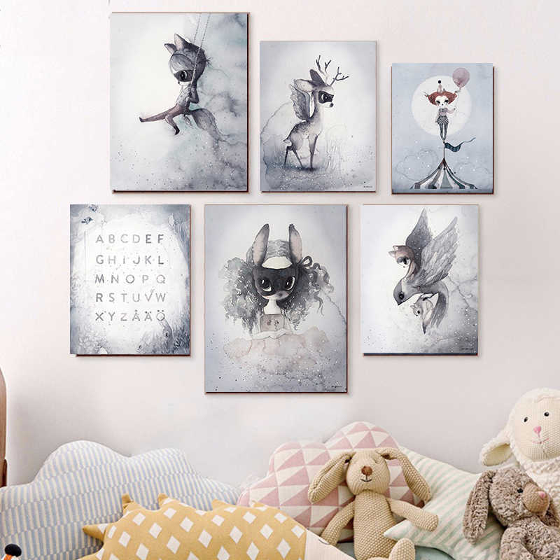Cartoon Rabbit Girl Poster Wall Art Hand-painted Canvas Painting Room Decoration