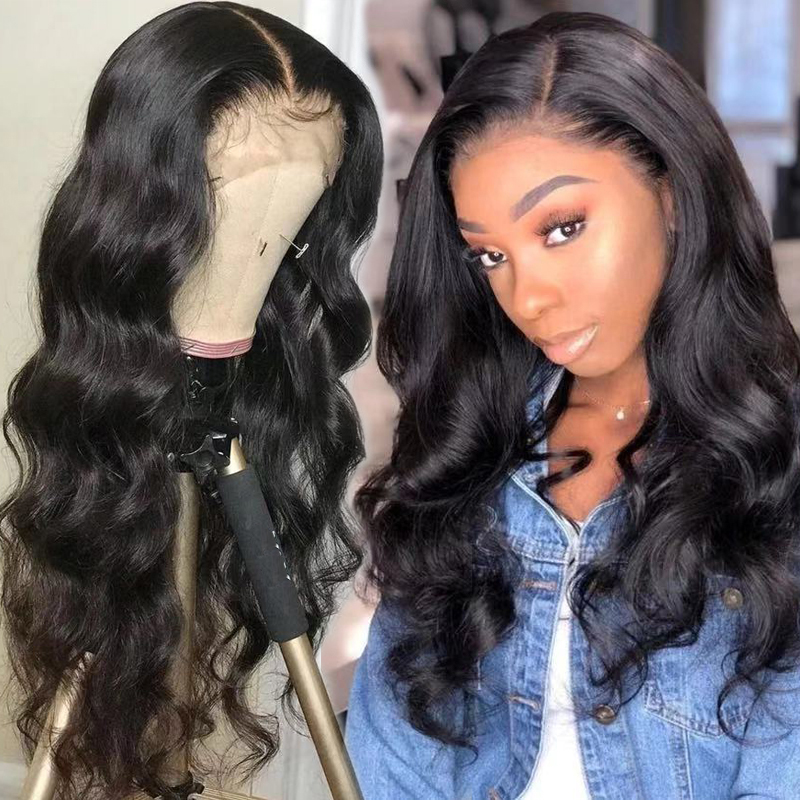 Bouncing Body Wave Lace Frontal Human Hair Wig 4x4 13x4 Lace Frontal Wig 180Density Customized Body Wavy Brazilian Remy Hair Wig
