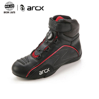 ARCX Cow Leather Motorcycle Road Racing Shoes Motorbike Leisure Ankle Cruiser Touring Biker Riding Boots with Tuning Knob Laces