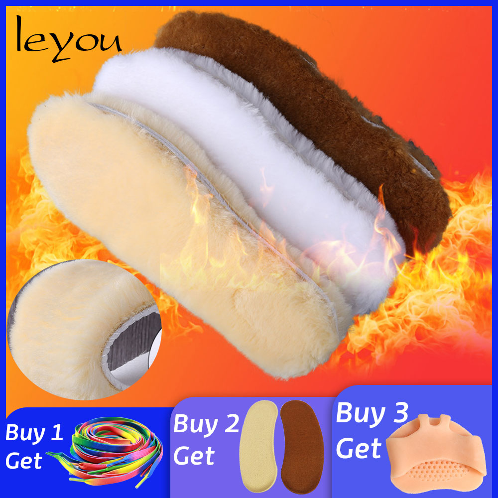 Leyou Unisex Faux Sheepskin Wool Insoles Winter Fur Soft With Pads Warm for Shoes