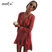 OOTN Red Ruffled Mini Warp Sun Dress Women Long Sleeve Short Stars Dres